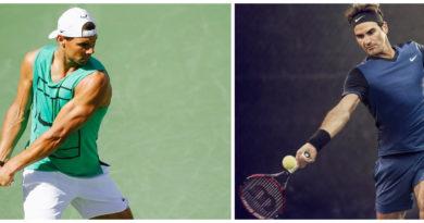Photo montage avec Rafael Nadal à gauche et Roger Federer à droite
