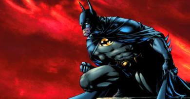 Batman, admirant Gotham City, du haut d'une tour