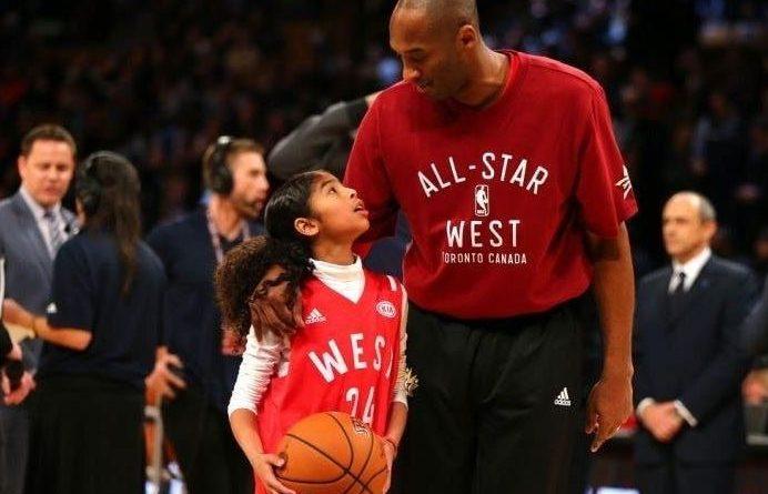 Gianna et Kobe Bryant lors d'un match de NBA.