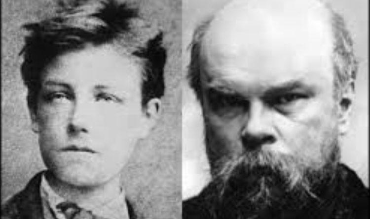 Photomontage avec Arthur Rimbaud à gauche et Paul Verlaine à droite.